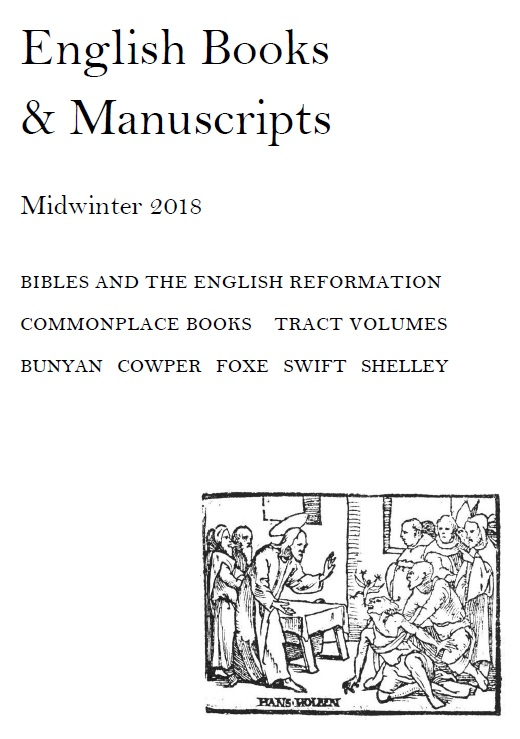 English Books & Manuscripts: Midwinter 2018