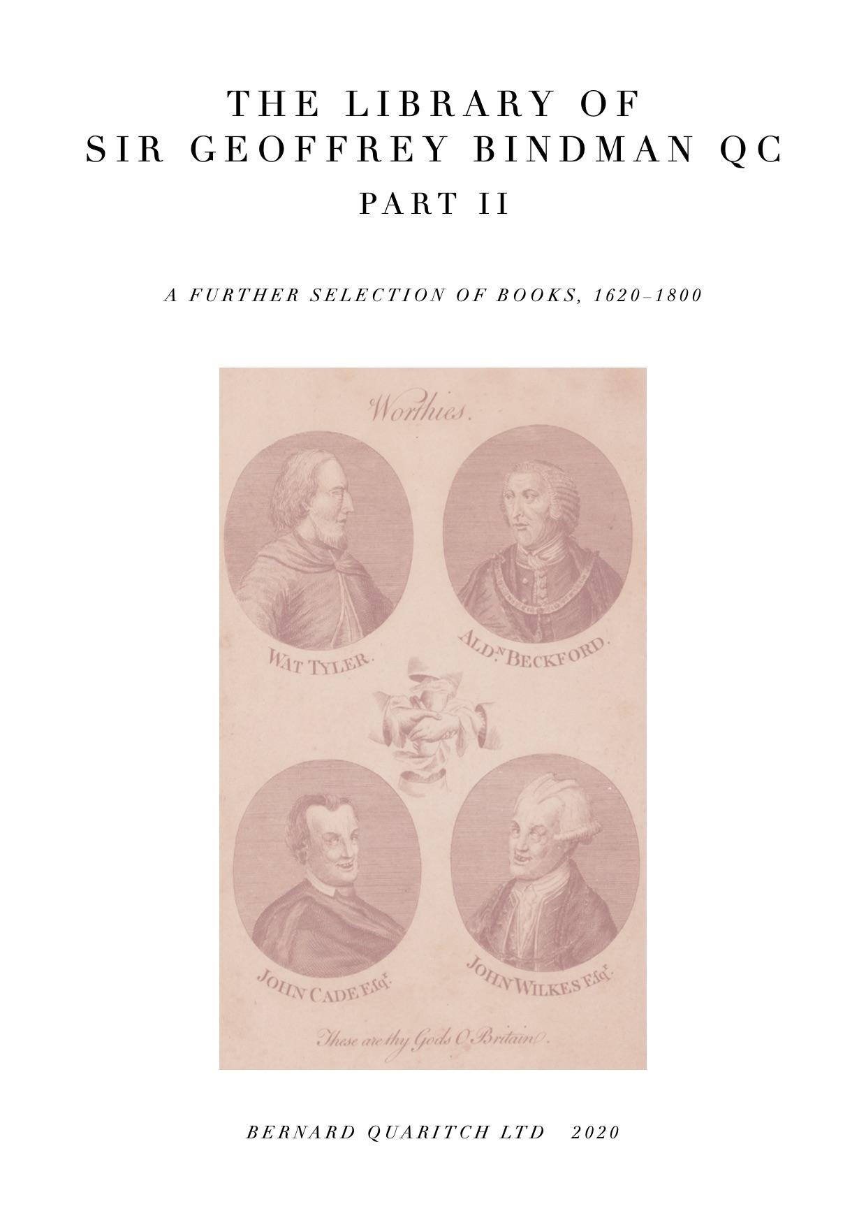 The Library of Sir Geoffrey Bindman Part II, 1620-1800